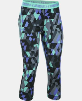 Girls' UA HeatGear® Armour Printed Capri LIMITED TIME: FREE U.S. SHIPPING 2 Colors $34.99