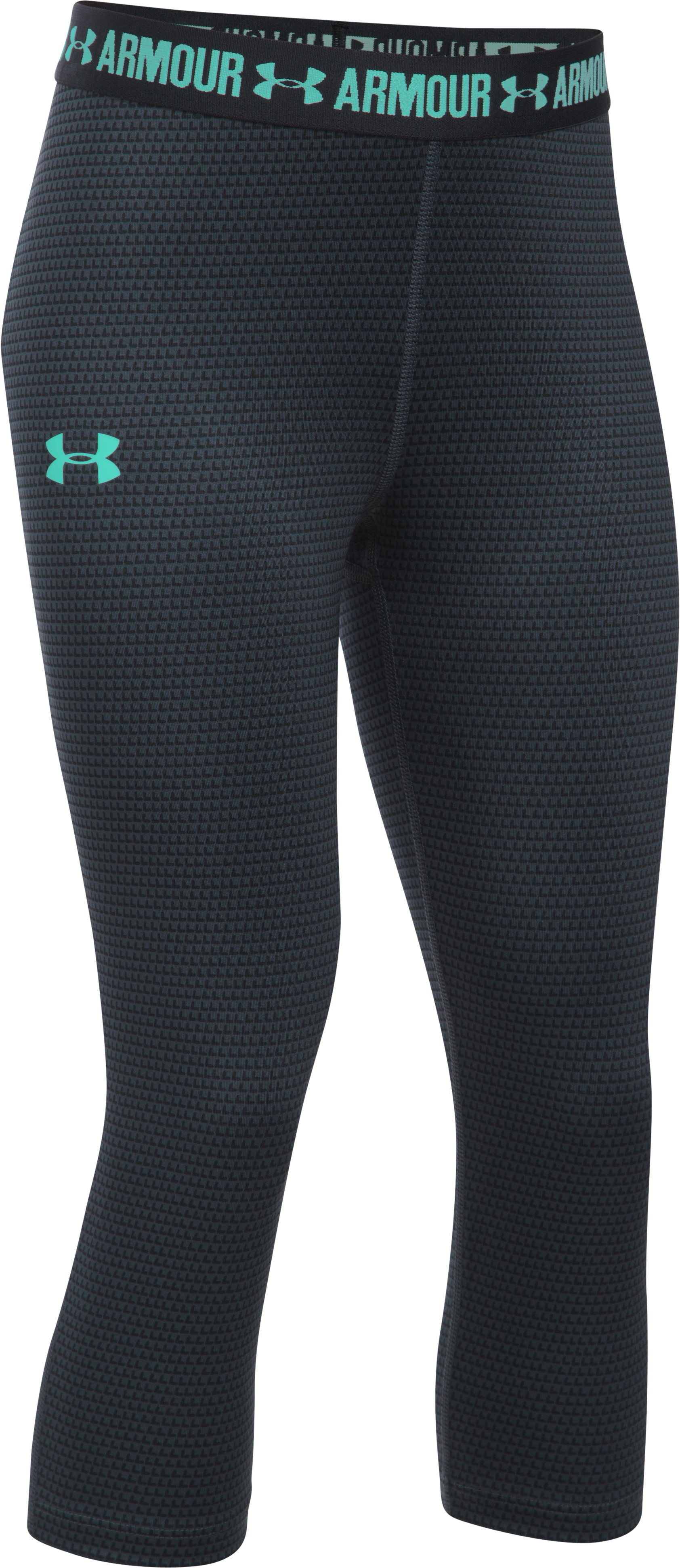 Girls' UA HeatGear® Armour Printed Capri, STEALTH GRAY