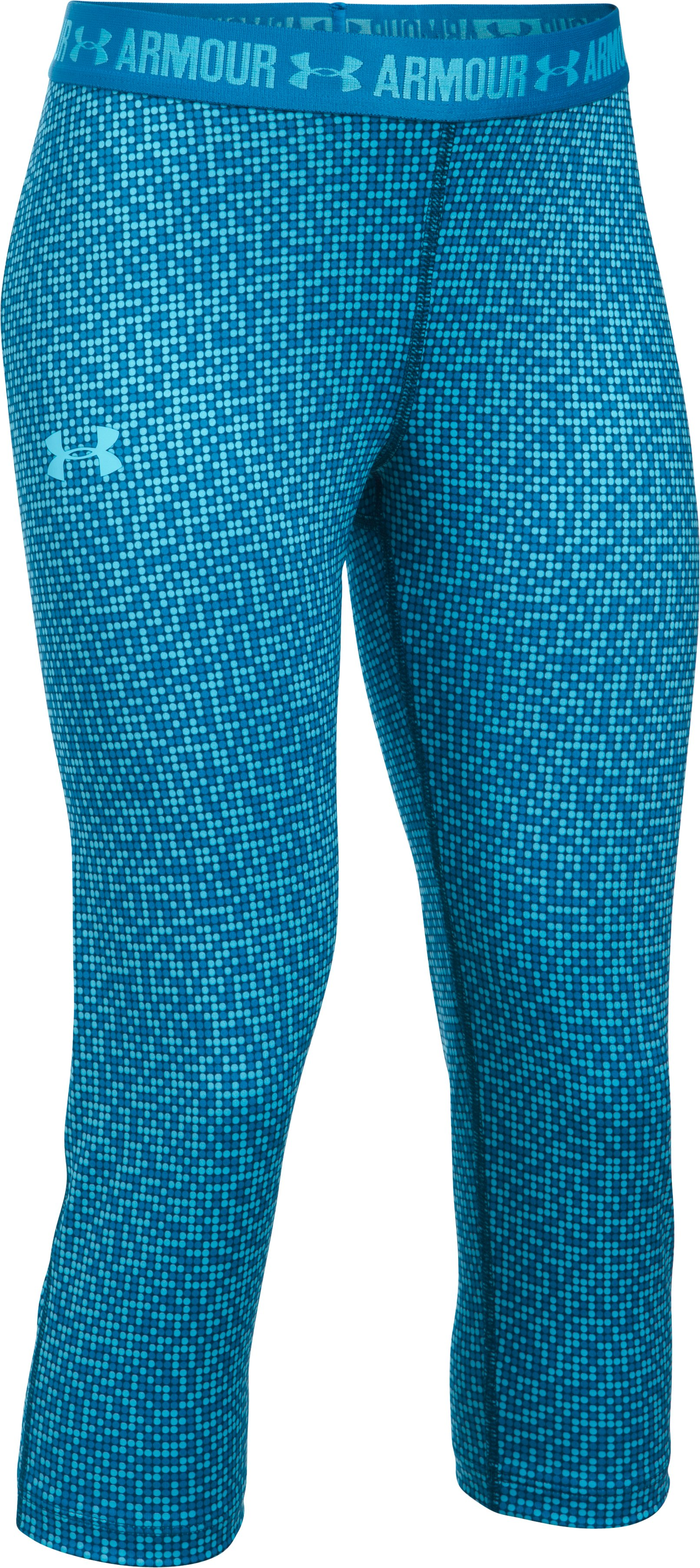 Girls' UA HeatGear® Armour Printed Capris, Venetian Blue,