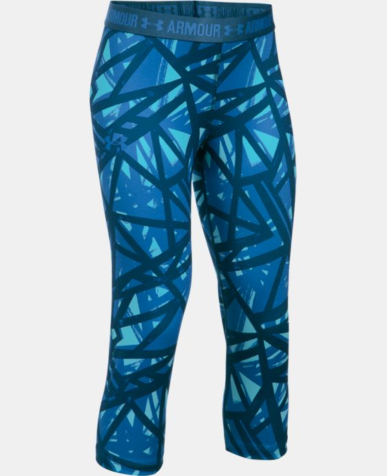 Girls' UA HeatGear® Armour Printed Capri LIMITED TIME: FREE U.S. SHIPPING  $34.99