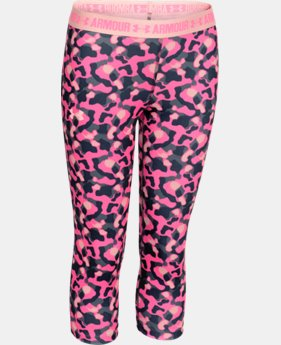 Girls' UA HeatGear® Armour Printed Capri  4 Colors $17.99 to $22.49