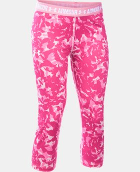 Girls' UA HeatGear® Armour Printed Capri LIMITED TIME: FREE SHIPPING 1 Color $39.99