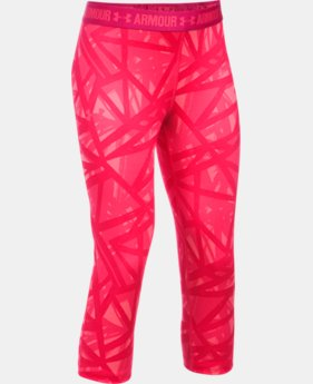 Girls' UA HeatGear® Armour Printed Capris  7 Colors $26.99