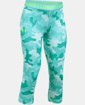 Girls' UA HeatGear® Armour Printed Capris  4 Colors $34.99