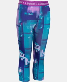 Best Seller Girls' UA HeatGear® Armour Printed Capri  4 Colors $34.99