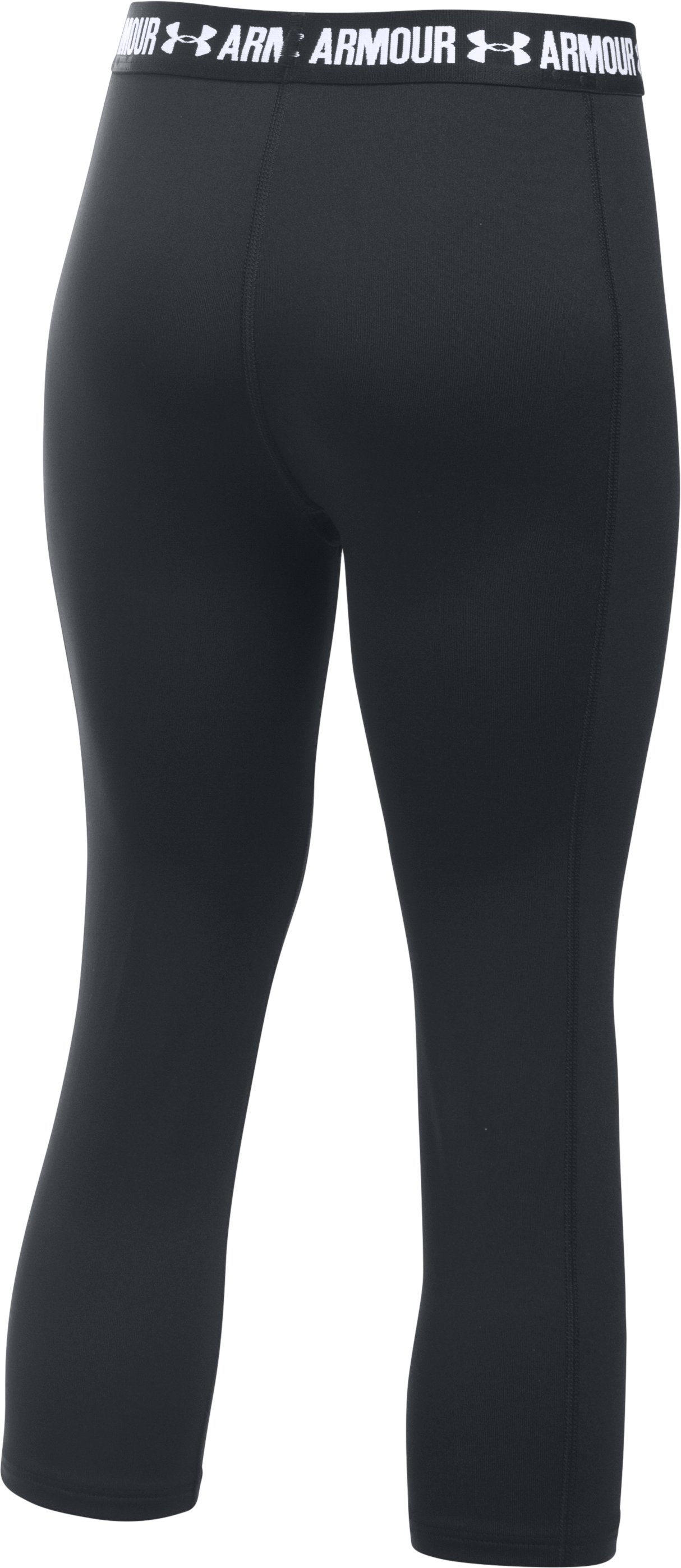 Girls' UA HeatGear® Armour Solid Capris, Black