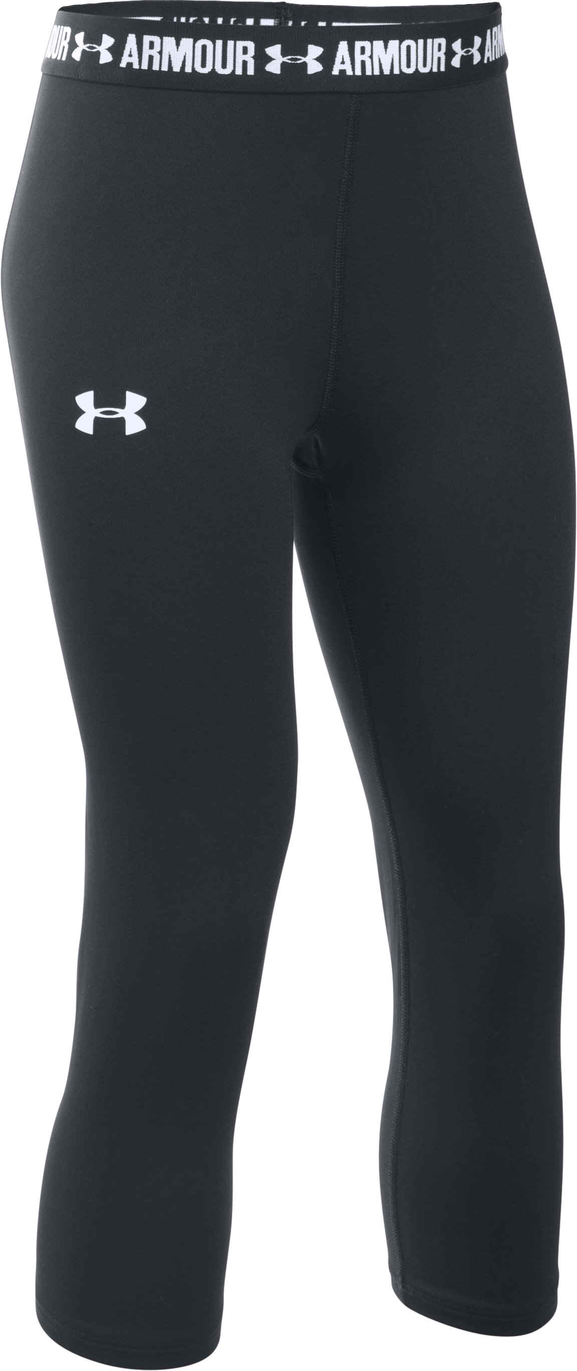 Girls' UA HeatGear® Armour Solid Capri, Black