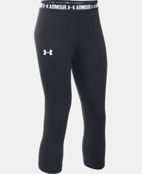 New Arrival  Girls' UA HeatGear® Armour Solid Capri LIMITED TIME: FREE SHIPPING 2 Colors $34.99