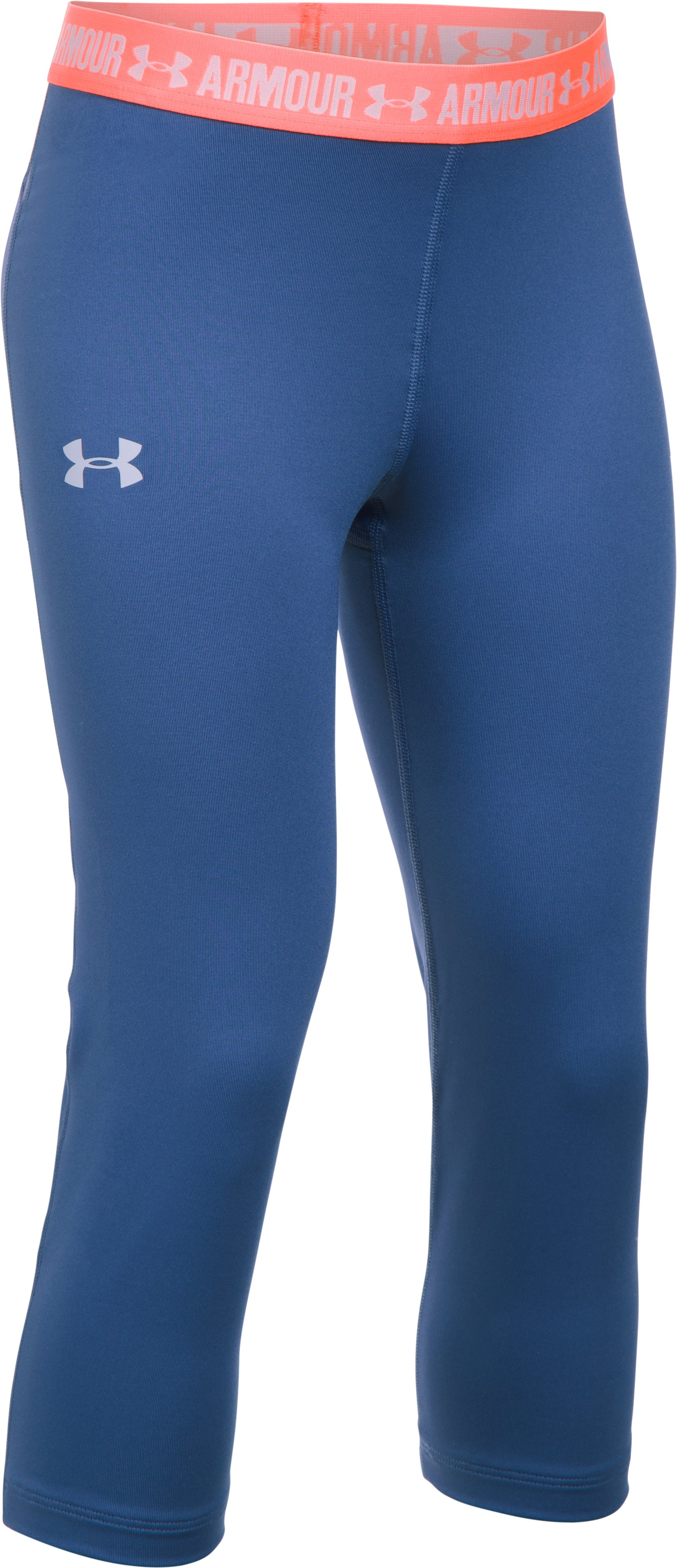 Girls' UA HeatGear® Armour Solid Capris, DEEP PERIWINKLE,
