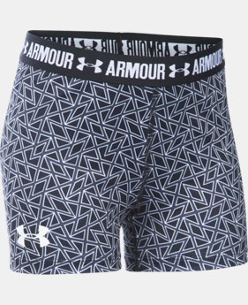 "Best Seller Girls' UA HeatGear® Armour Printed 3"" Shorty LIMITED TIME: FREE SHIPPING 4 Colors $24.99"
