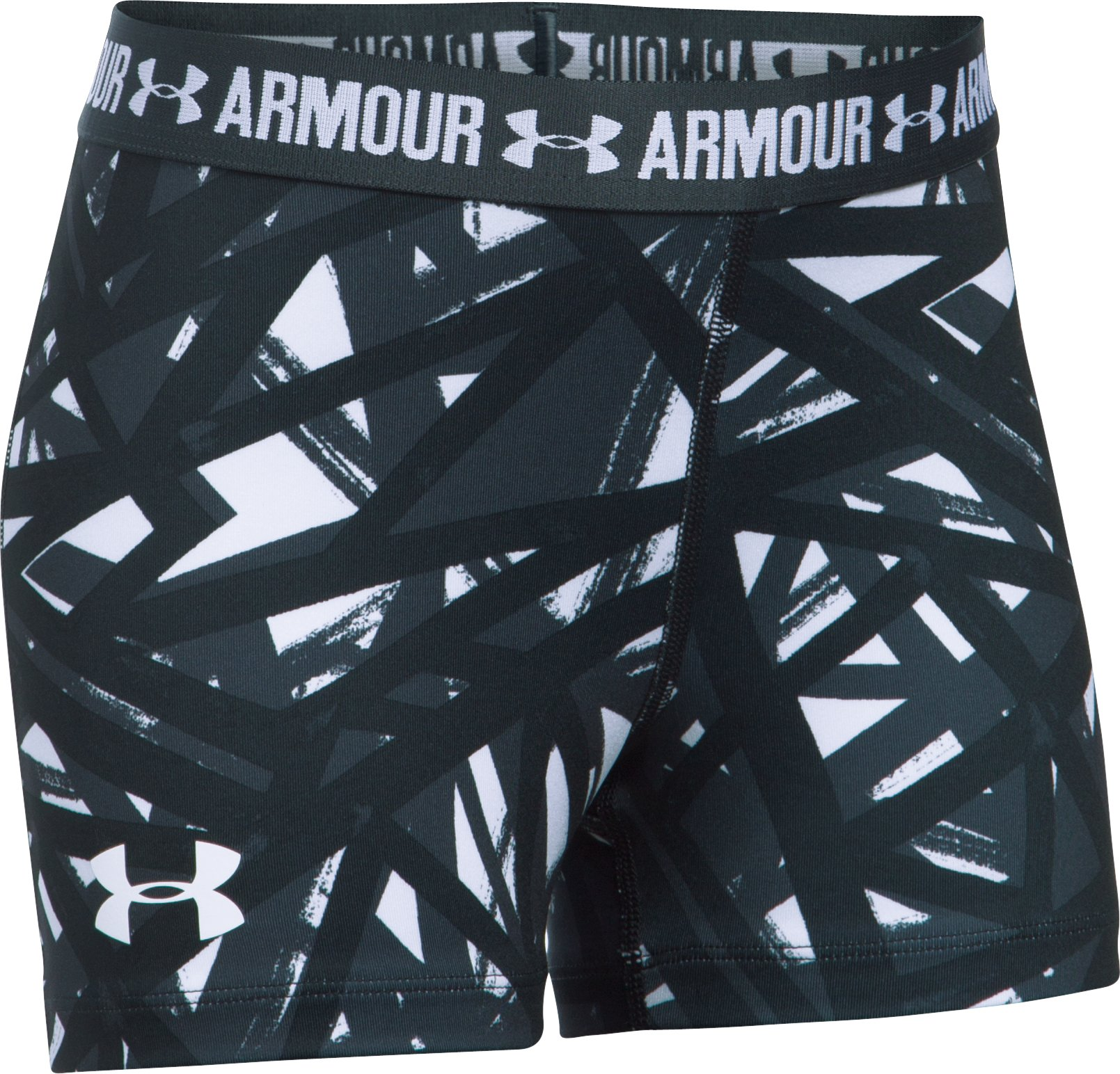 "Girls' UA HeatGear® Armour Printed 3"" Shorty, White, undefined"