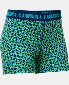 "Best Seller Girls' UA HeatGear® Armour Printed 3"" Shorty LIMITED TIME: FREE SHIPPING 1 Color $24.99"