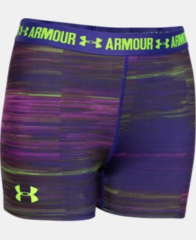 "New Arrival  Girls' UA HeatGear® Armour Printed 3"" Shorty LIMITED TIME: FREE SHIPPING 1 Color $20.99"