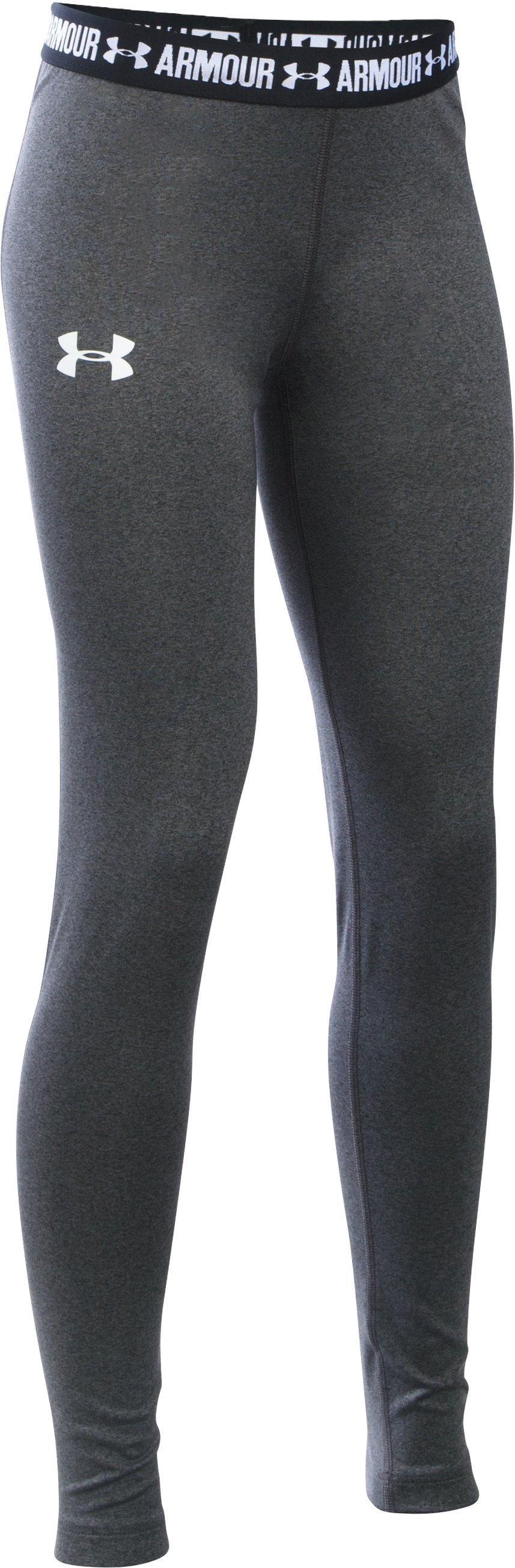Girls' HeatGear® Armour Legging, Carbon Heather, zoomed image