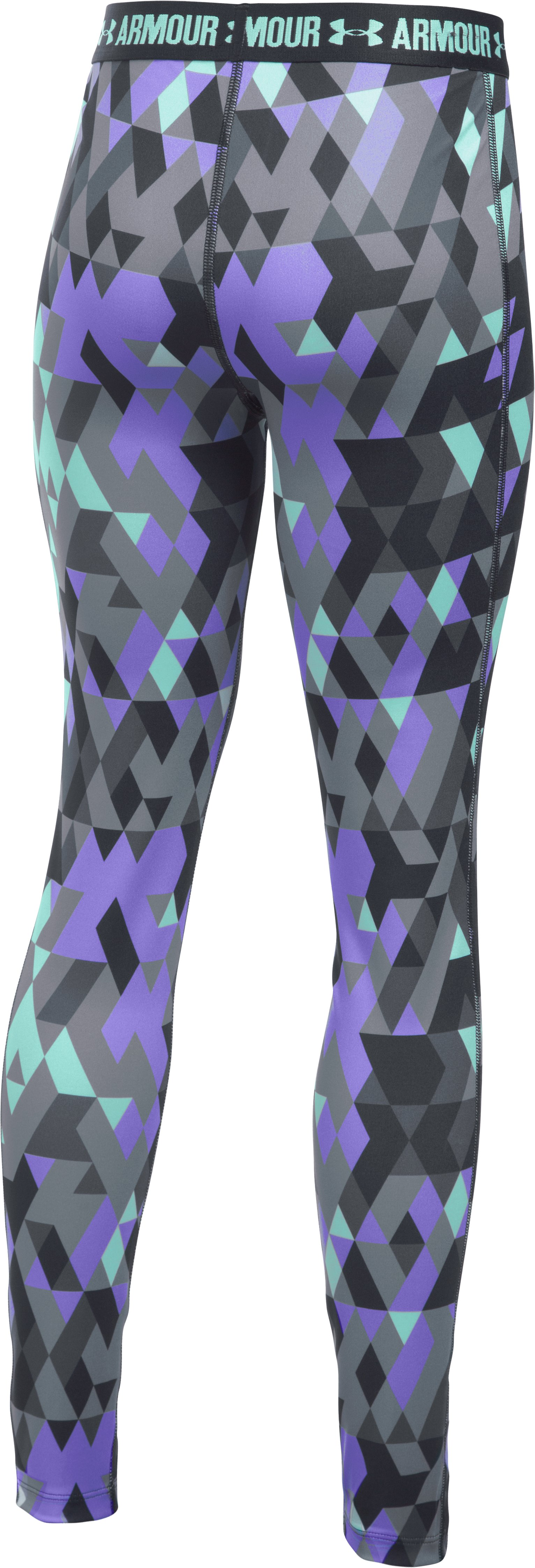 Girls' UA HeatGear® Armour Printed Leggings, STEALTH GRAY, undefined