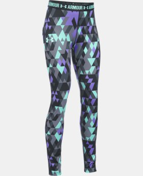 New Arrival  Girls' UA HeatGear® Armour Printed Legging LIMITED TIME: FREE SHIPPING 1 Color $44.99