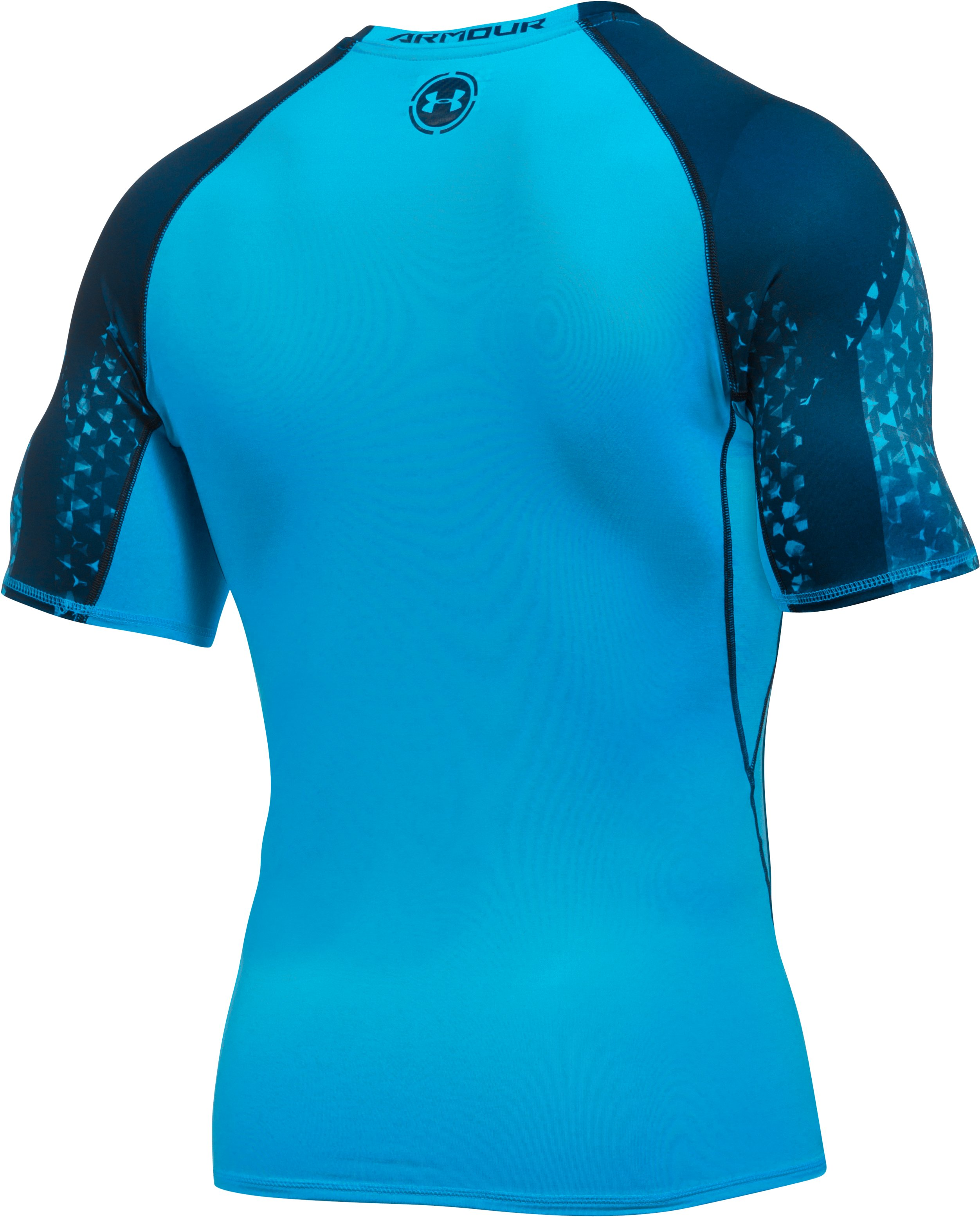 Men's UA HeatGear® Armour Scope Short Sleeve Compression Shirt, MERIDIAN BLUE, undefined