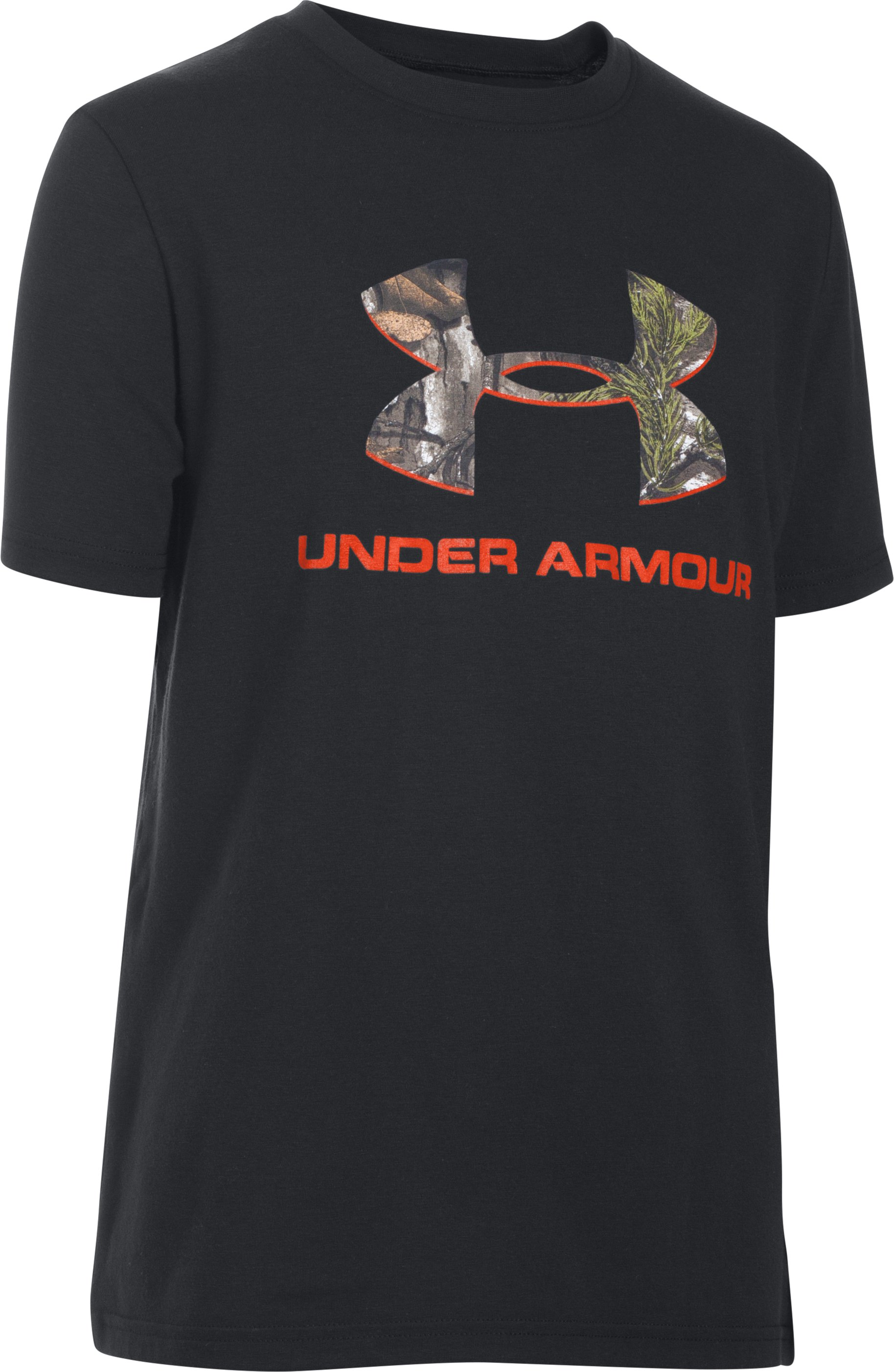 Boys' UA Camo Fill Big Logo Short Sleeve T-Shirt, Black , undefined