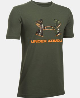 New Arrival Boys' UA Camo Fill Big Logo Short Sleeve T-Shirt   $19.99