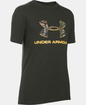 New Arrival  Boys' UA Camo Fill Big Logo Short Sleeve T-Shirt  1 Color $25.99