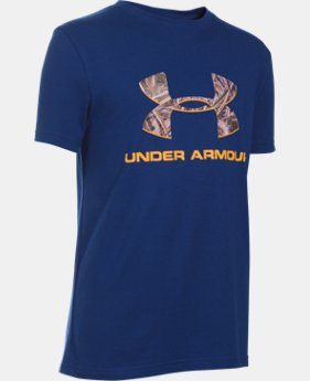 Boys' UA Camo Fill Big Logo Short Sleeve T-Shirt LIMITED TIME: FREE SHIPPING 1 Color $19.99