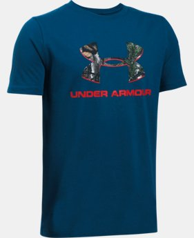 Boys' UA Camo Fill Big Logo Short Sleeve T-Shirt  1 Color $29.15