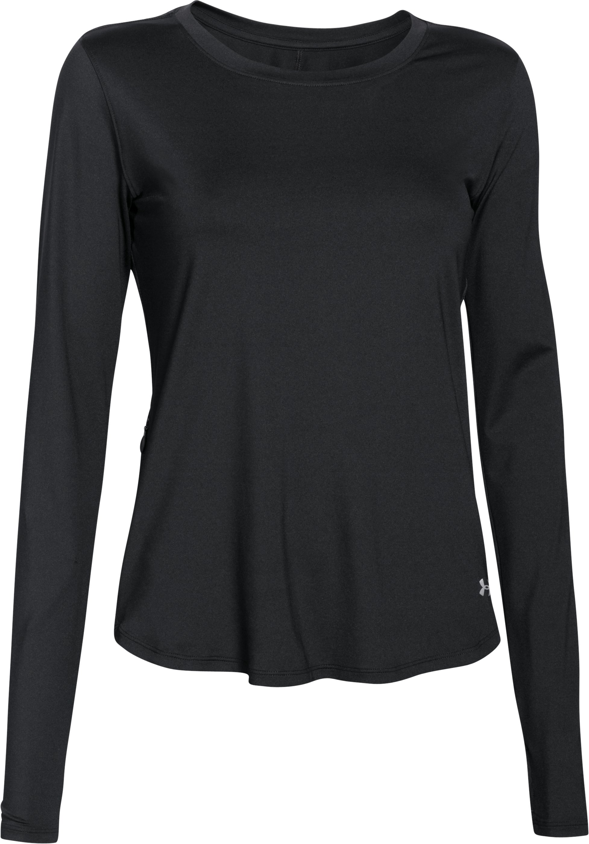Women's UA Fly-By Solid Long Sleeve, Black , undefined