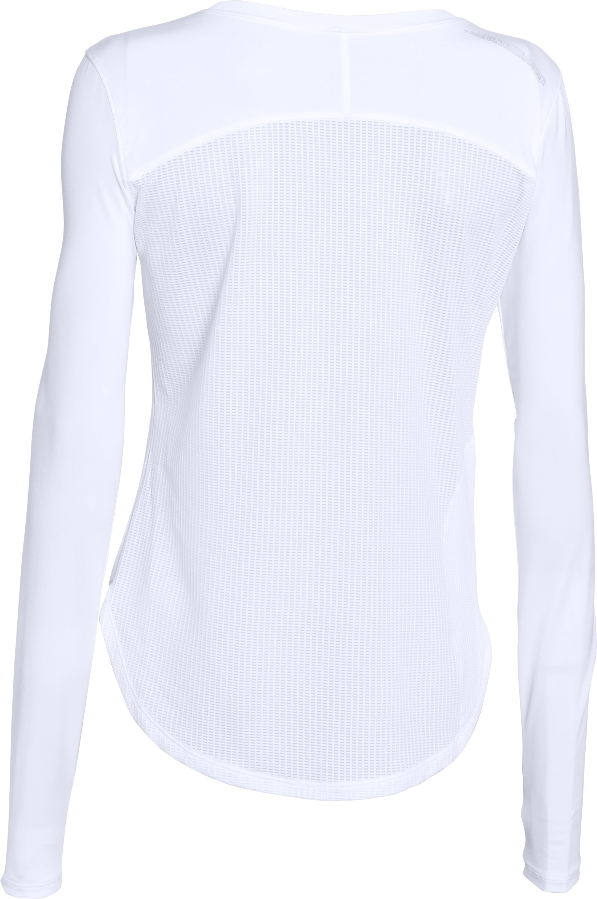 Women's UA Fly-By Solid Long Sleeve, White, undefined