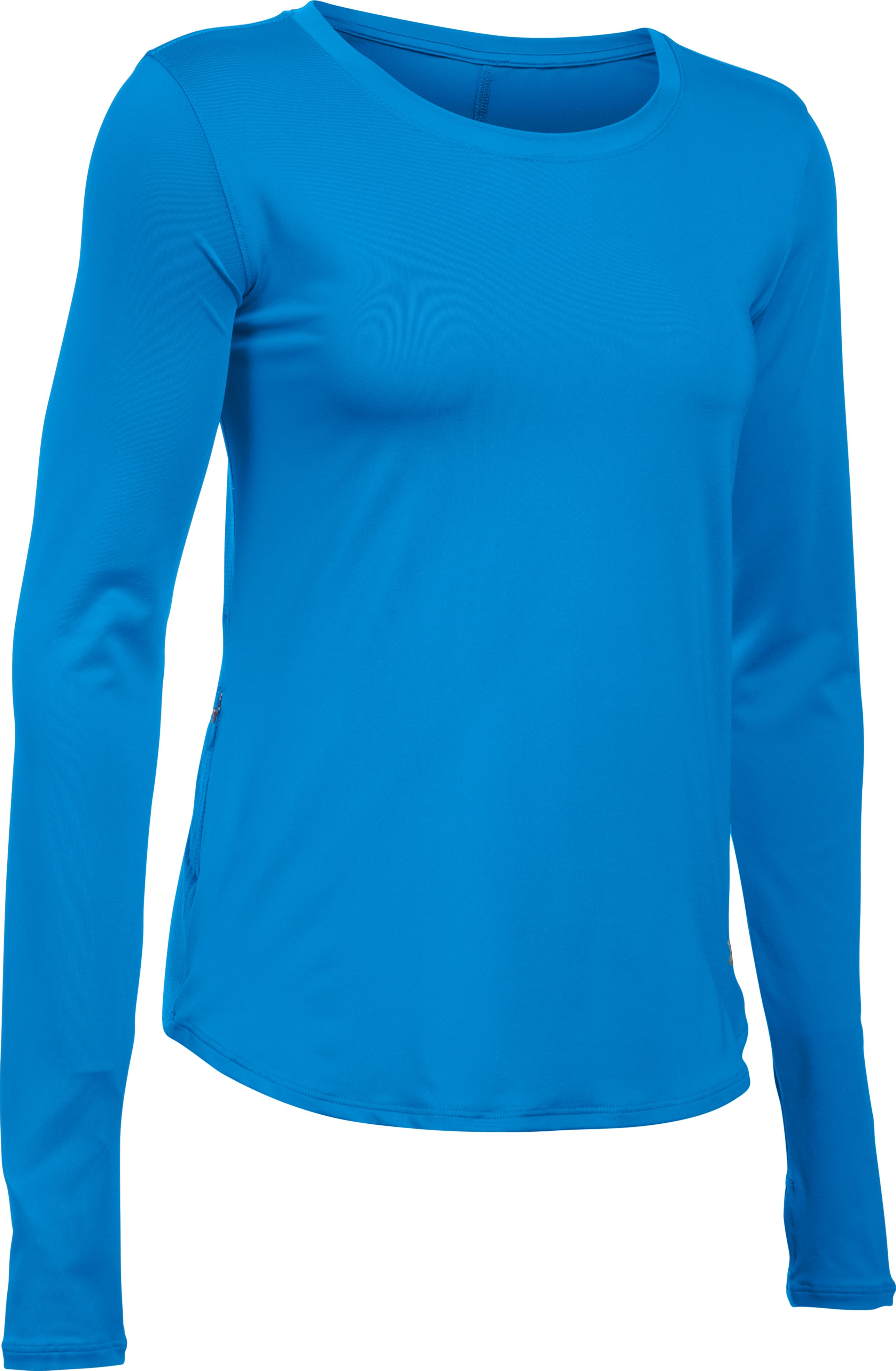 Women's UA Fly-By Solid Long Sleeve, Water, undefined