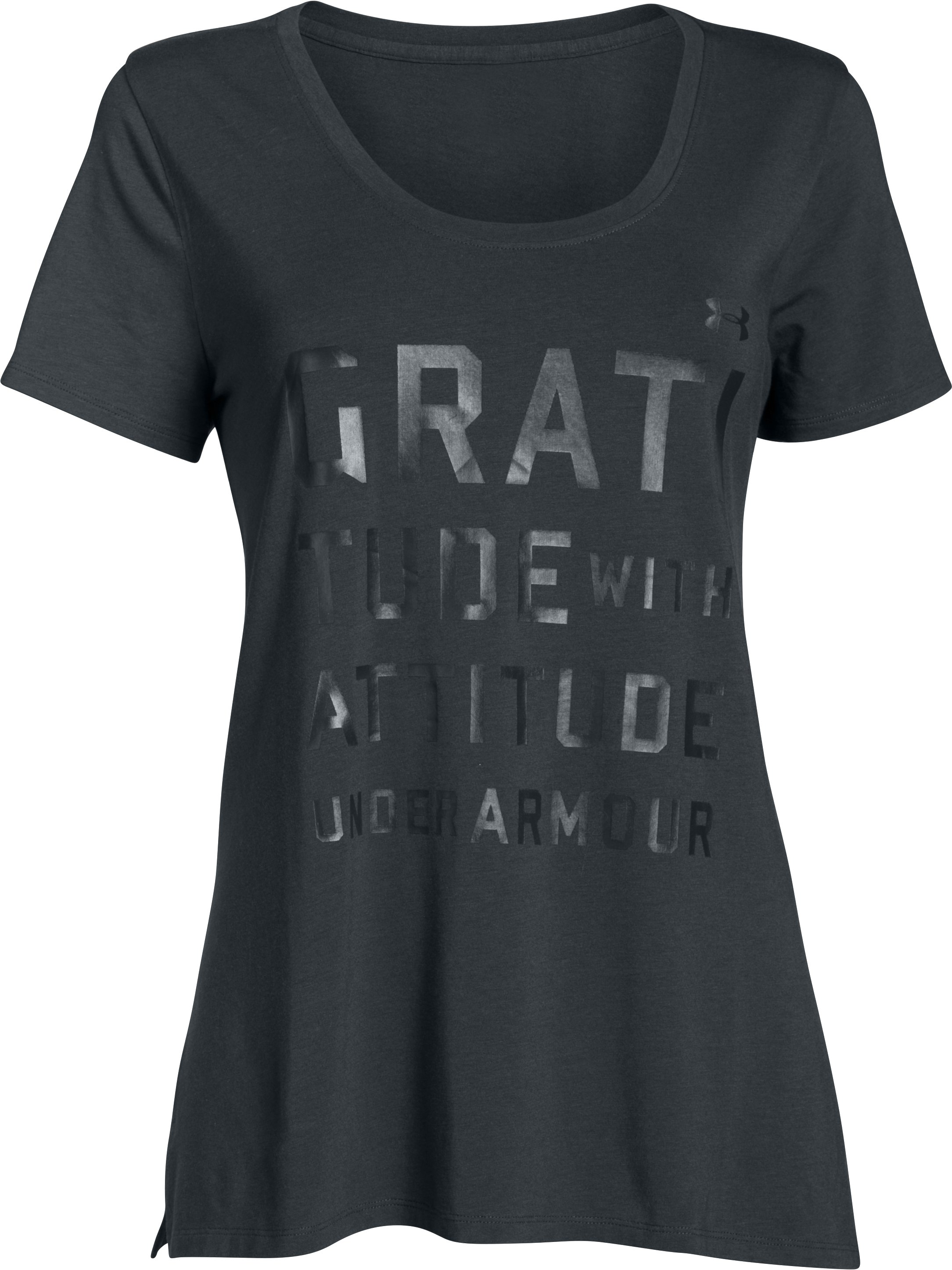 Women's UA Studio Oversized Graphic T, ANTHRACITE, undefined