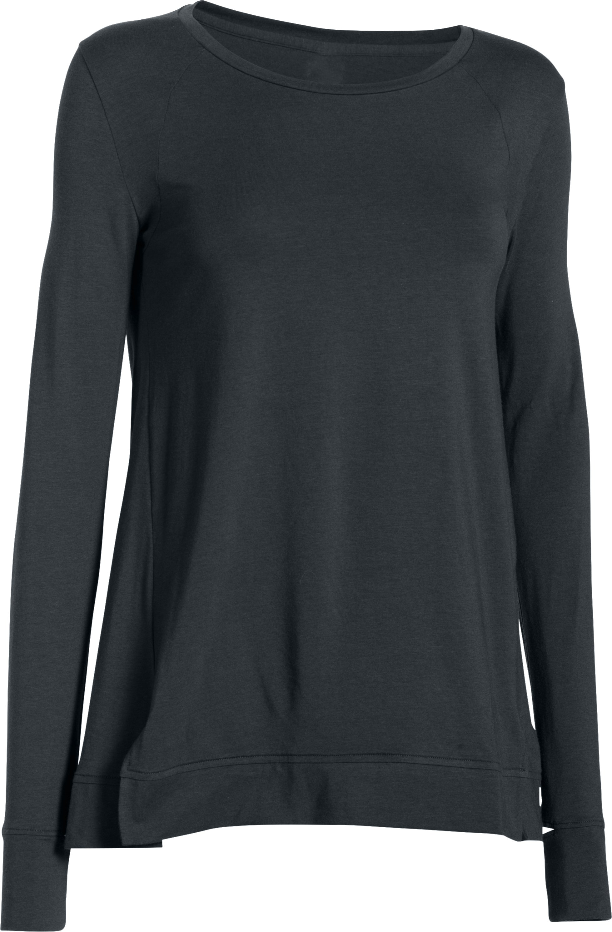 Women's UA Studio Oversized Long Sleeve, ANTHRACITE,