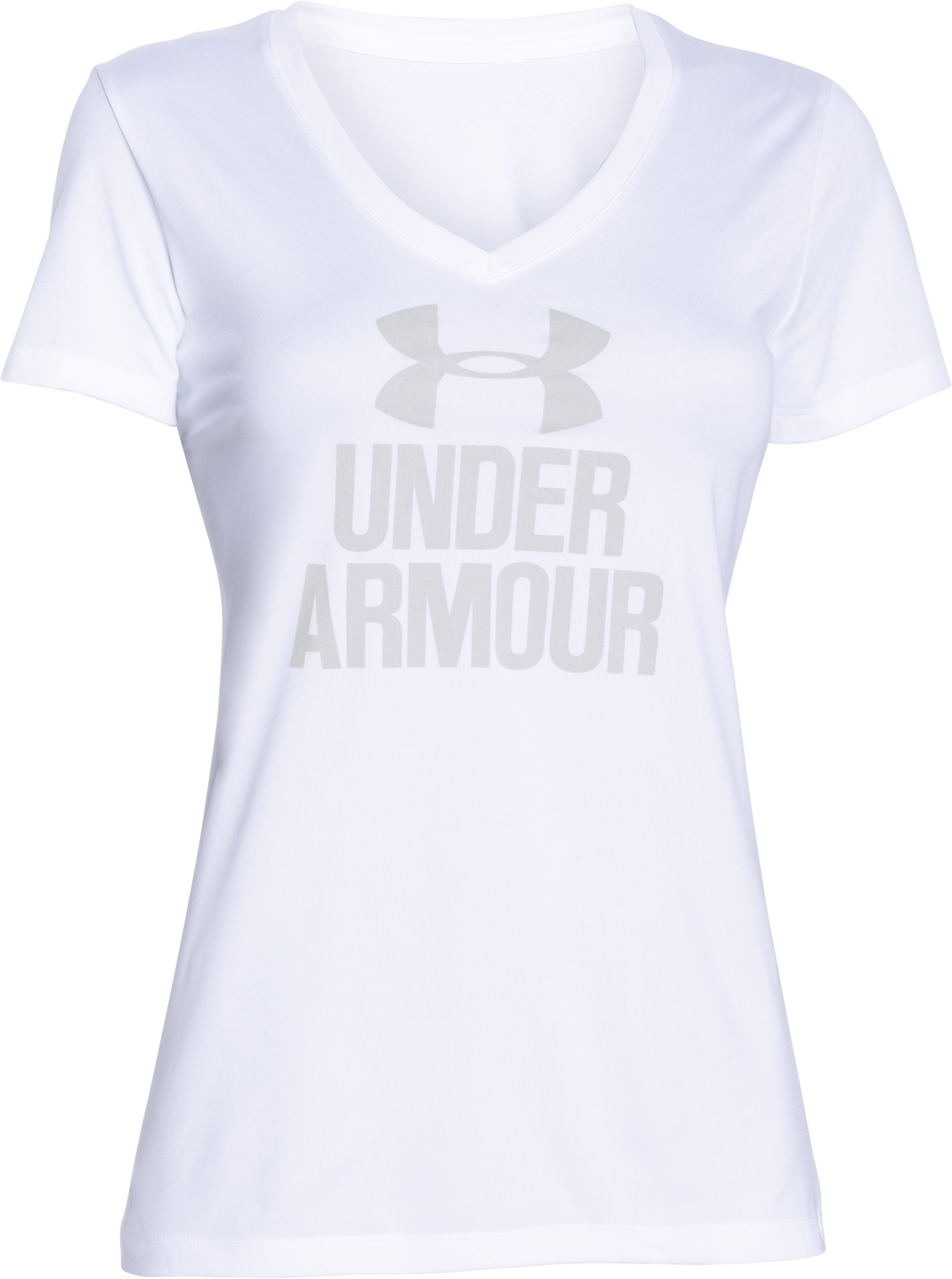 Women's UA Tech™ V-Neck - Branded, White, undefined