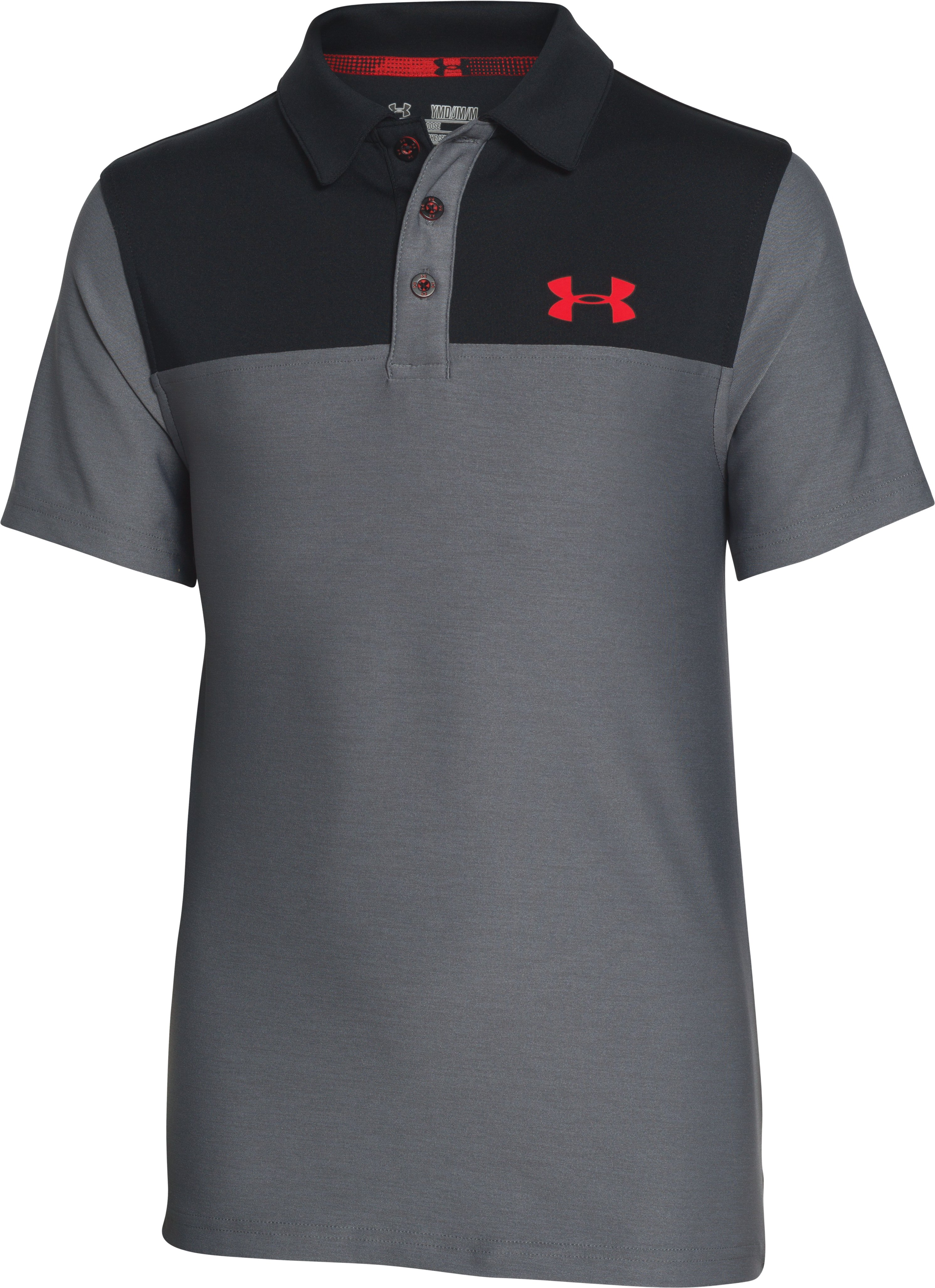 Boys' UA Match Play Blocked Polo , Graphite, zoomed image