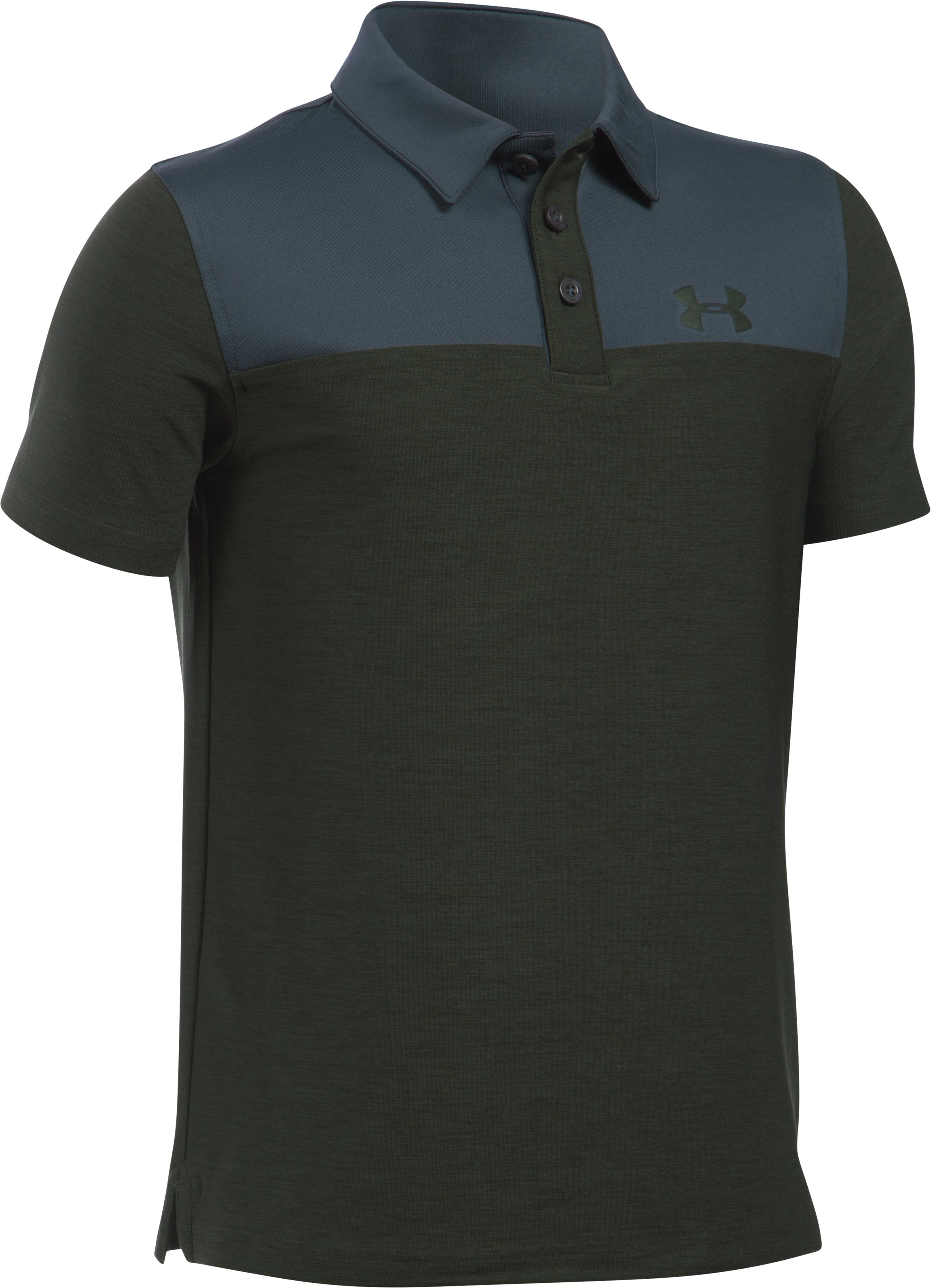 Boys' UA Match Play Blocked Polo , Artillery Green