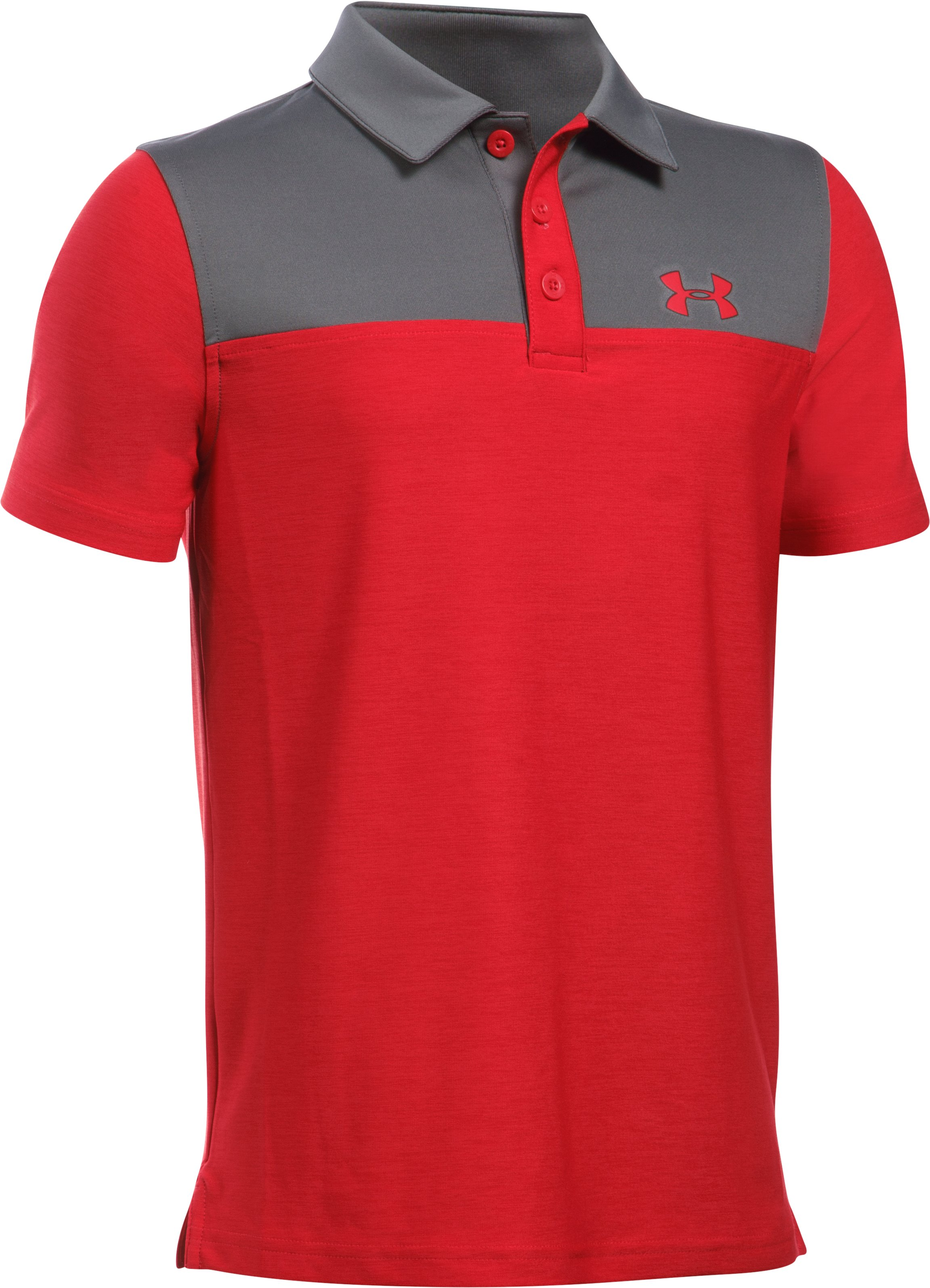 Boys' UA Match Play Blocked Polo , Red, zoomed image