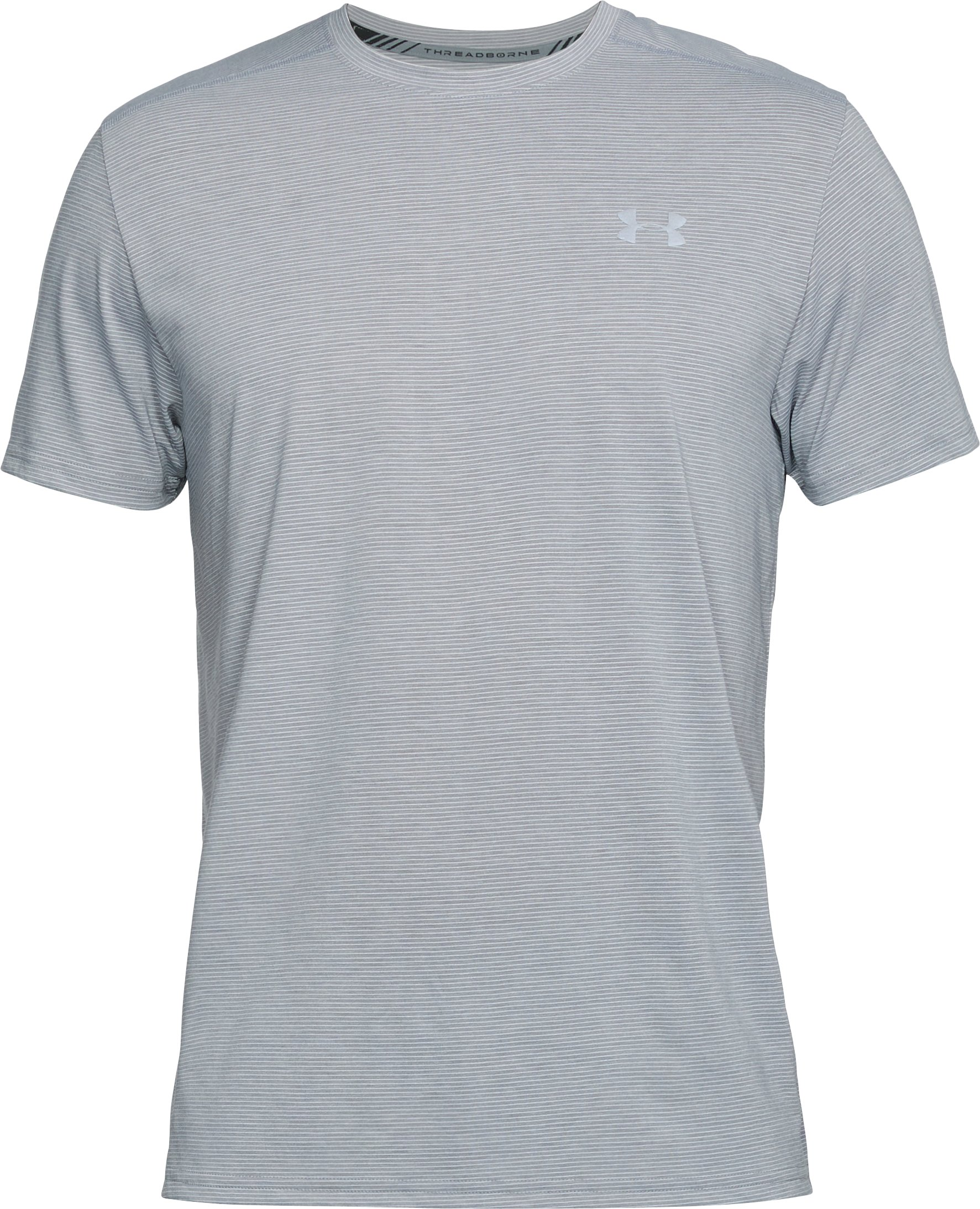 Men's UA Streaker Short Sleeve, STEEL LIGHT HEATHER,