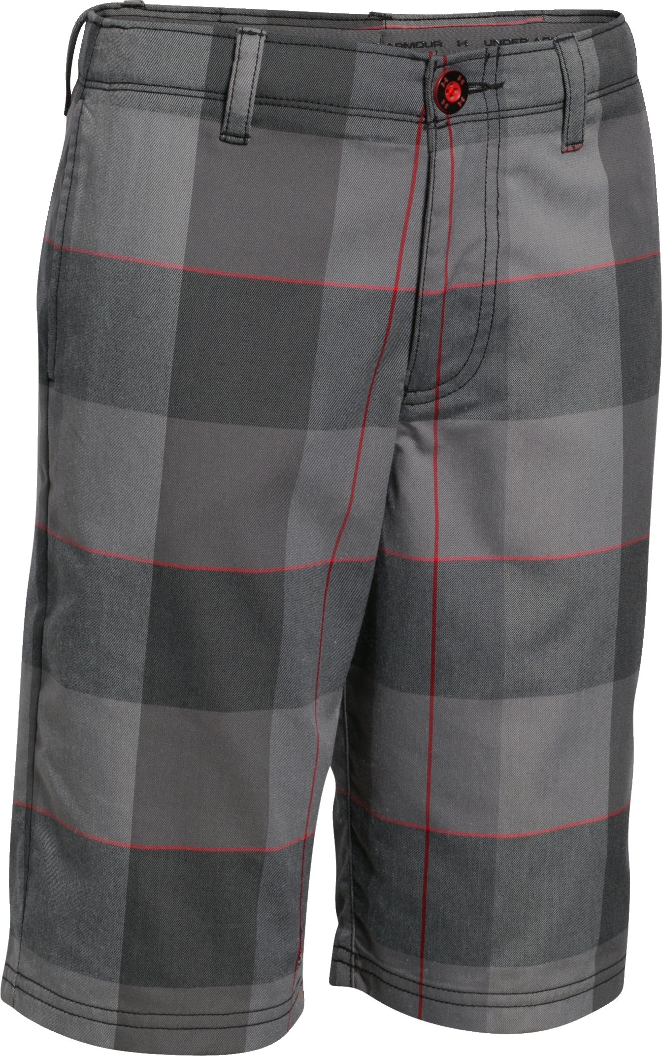 Boys' UA Cross-Hand Yarn-Dye Golf Shorts, Black , undefined