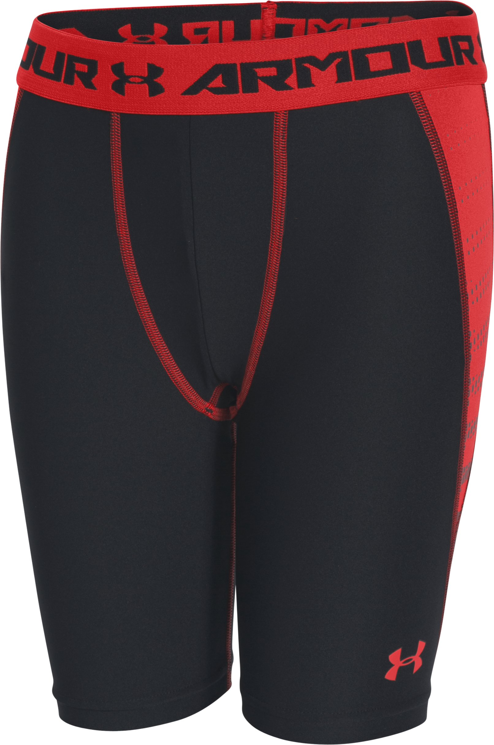 Boys' UA HeatGear® Armour Up Fitted Shorts – Long , Black , undefined
