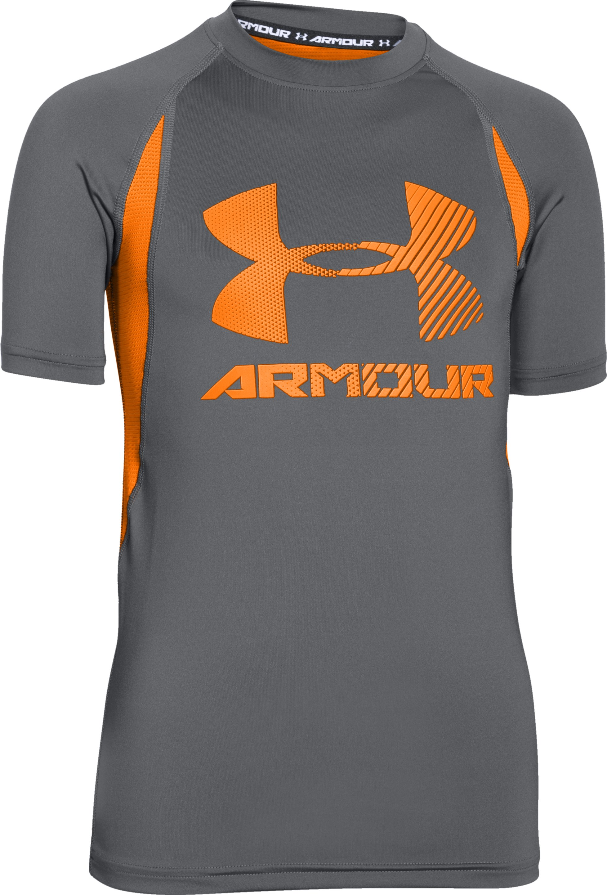 Boys' UA HeatGear® Armour Up Digi Fitted Short Sleeve Shirt, Graphite, zoomed image