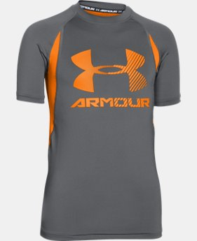 Boys' UA HeatGear® Armour Up Digi Fitted Short Sleeve Shirt  3 Colors $18.99