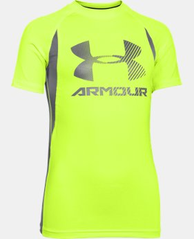 Boys' UA HeatGear® Armour Up Digi Fitted Short Sleeve Shirt   $18.99