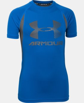 Boys' UA HeatGear® Armour Up Digi Fitted Short Sleeve Shirt  1 Color $17.24