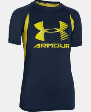 Boys' UA HeatGear® Armour Up Digi Fitted Short Sleeve Shirt  1 Color $11.24 to $14.24