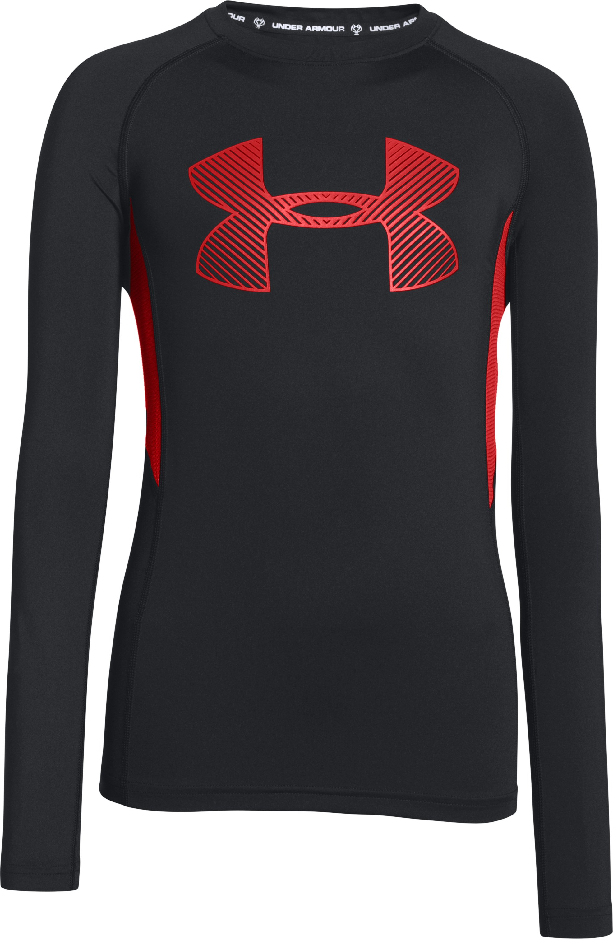 Boys' UA HeatGear® Armour Up Fadeaway Fitted Long Sleeve Shirt, Black , zoomed image