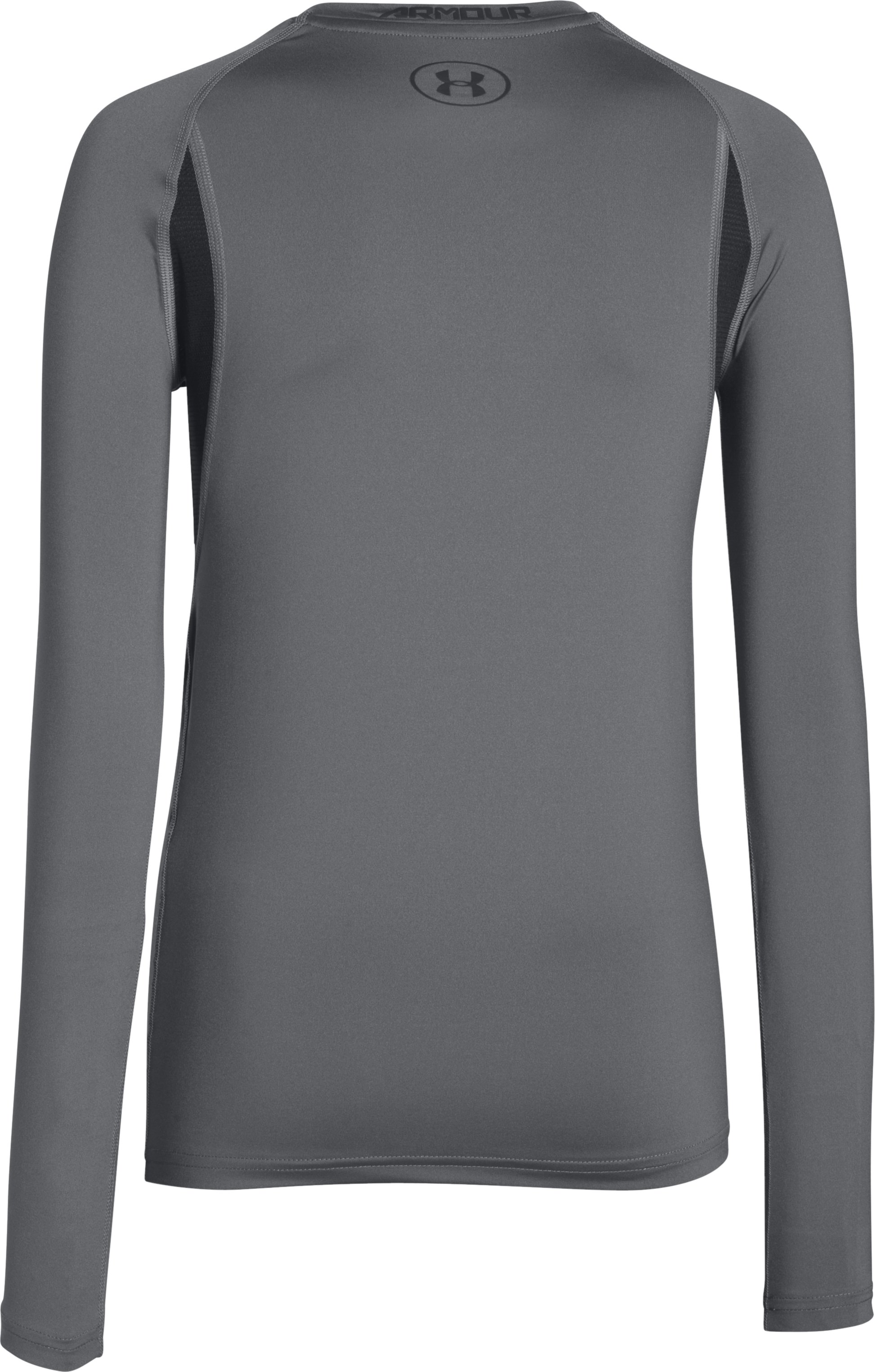 Boys' UA HeatGear® Armour Up Fadeaway Fitted Long Sleeve Shirt, Graphite,