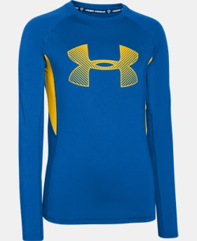 Boys' UA HeatGear® Armour Up Fadeaway Fitted Long Sleeve Shirt   $26.99