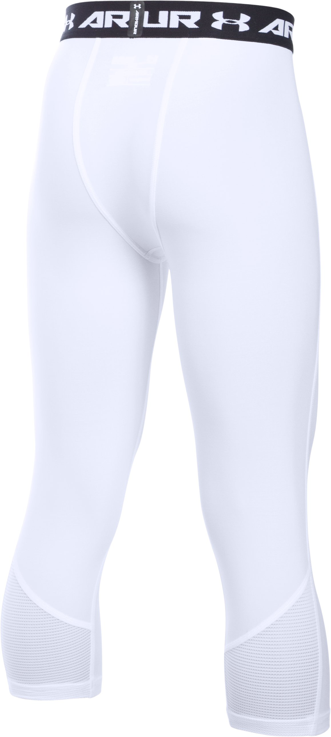 Boys' UA HeatGear® Armour Up Fadeaway Fitted ¾ Leggings, White,