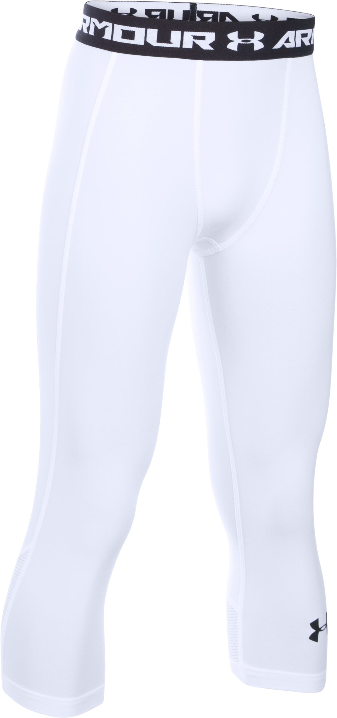 Boys' UA HeatGear® Armour Up Fadeaway Fitted ¾ Leggings, White, zoomed image