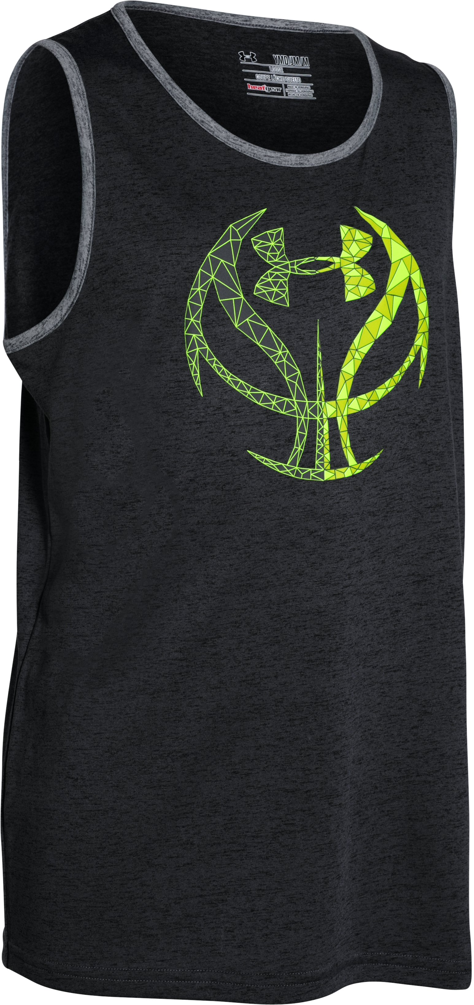 Boys' UA Run 'N Gun Tank, Black ,
