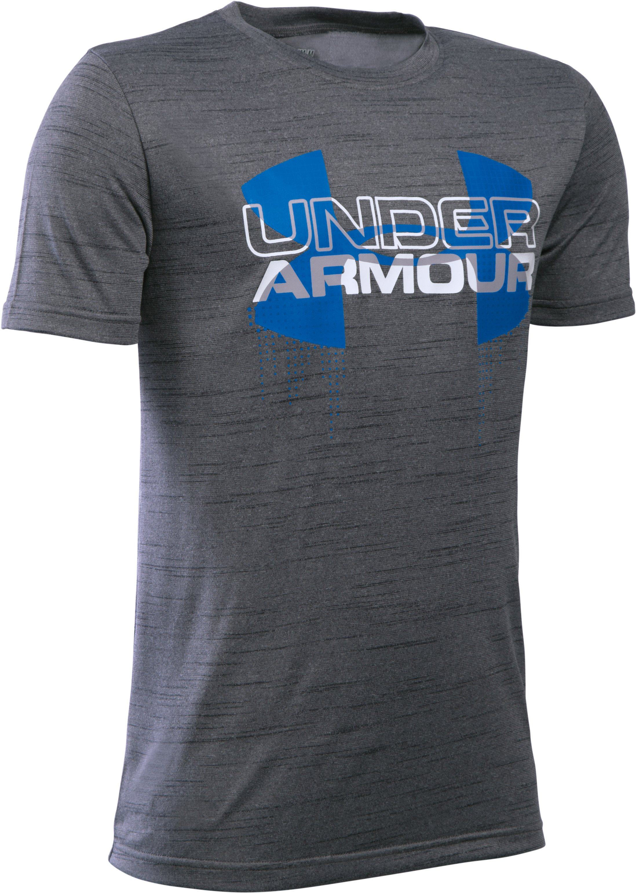 Boys' UA Tech™ Big Logo Hybrid T-Shirt, Graphite, zoomed image